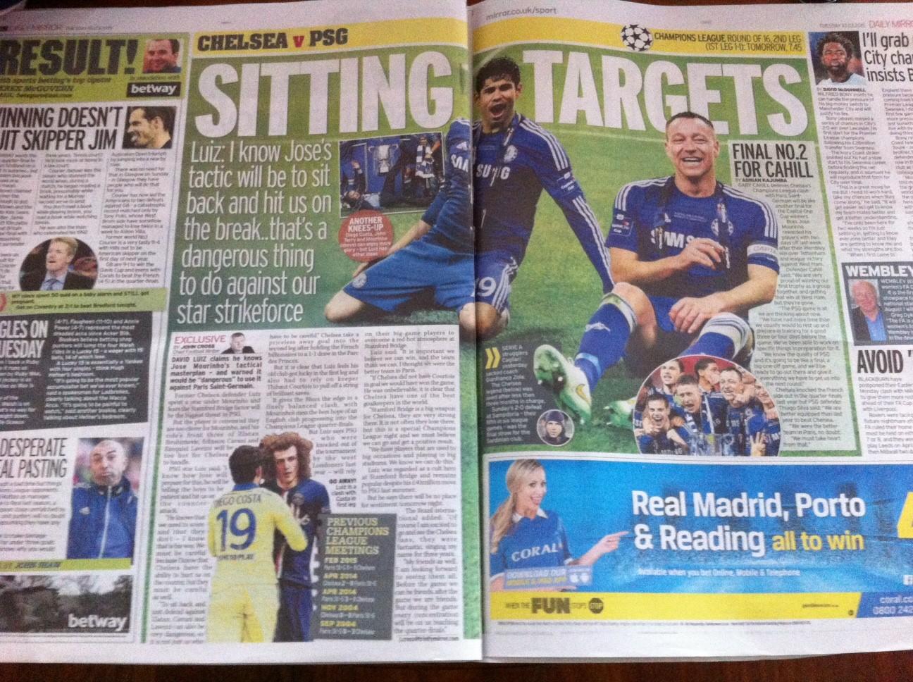 L'interview de David Luiz dans les colonnes du Daily Mirror