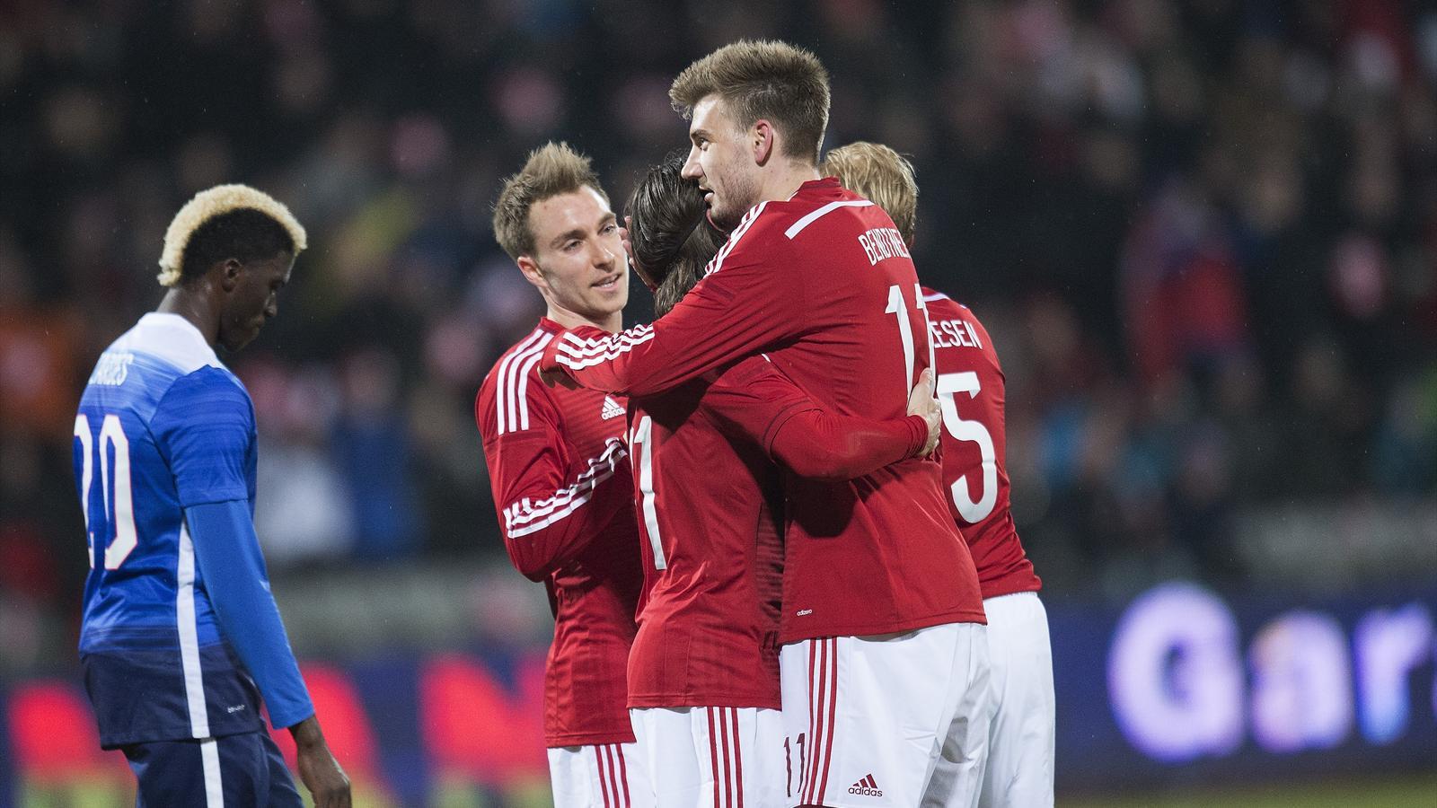 Denmark's Nicklas Bendtner (C) celebrates with teammates after scoring v USA (AFP)