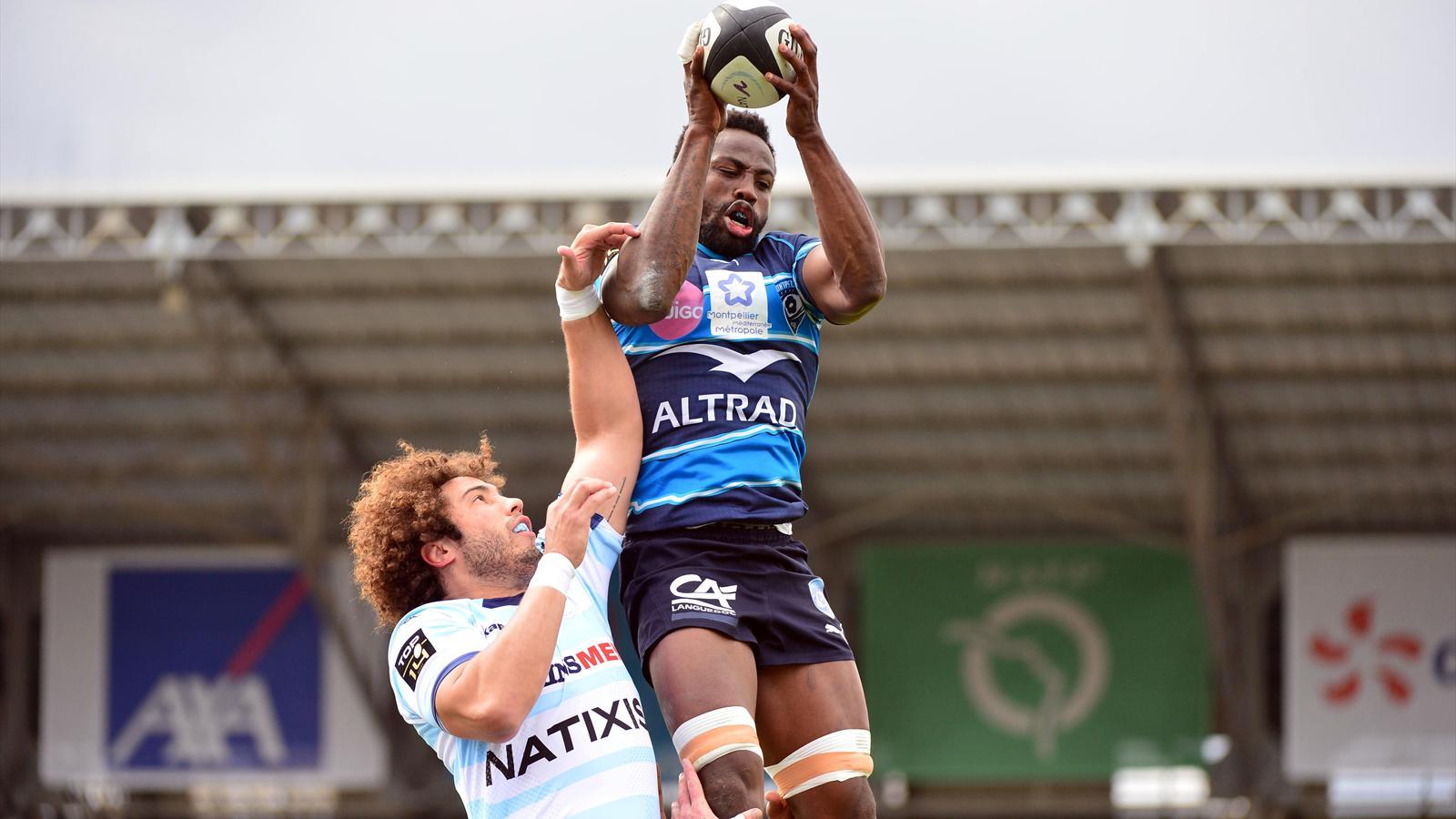 Fulgence Ouedraogo (Montpellier) face à Camille Gérondeau (Racing) - 11 avril 2015
