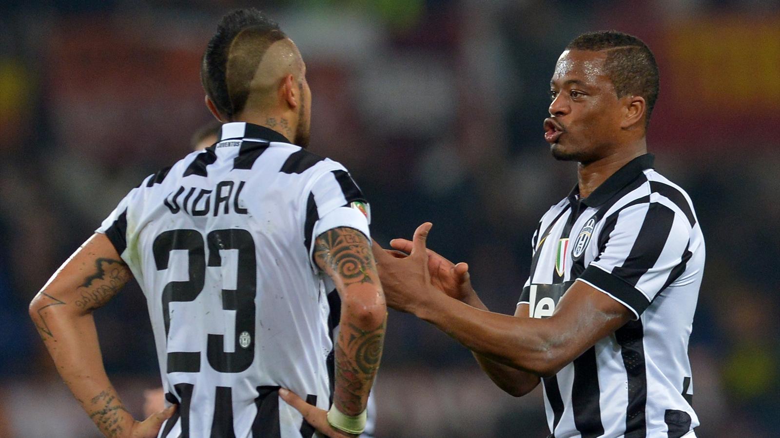 Arturo Vidal et Patrice Evra (Juventus)