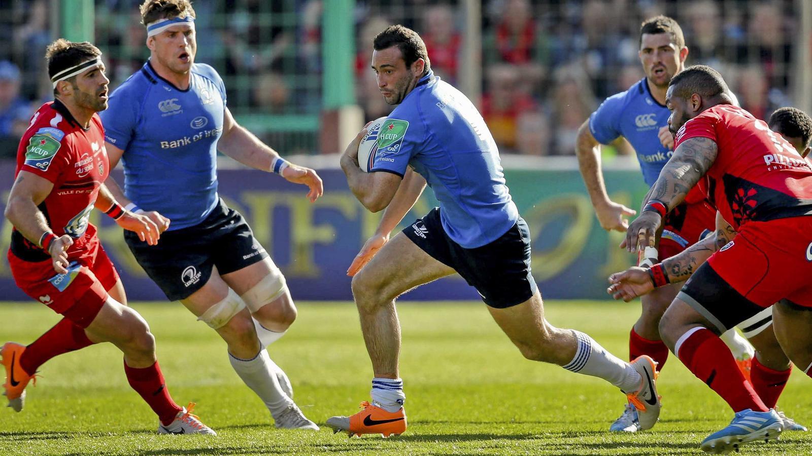 Dave Kearney tente d'échapper à Mathieu Bastareaud et Sébastien Tillous-Borde lors du quart de finale Toulon-Leinster - 6 avril 2014