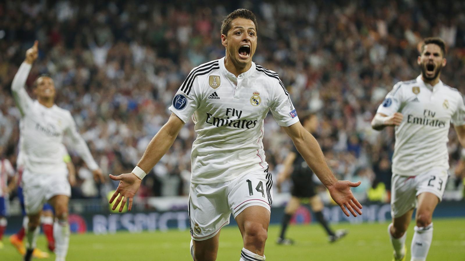 Javier Hernandez celebrates his winning goal for Real Madrid against Atletico Madrid