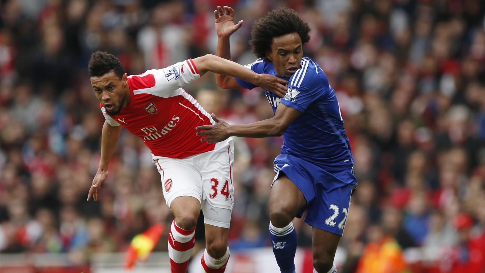Francis Coquelin et Willian au duel lors d'Arsenal-Chelsea (saison 2014-2015)