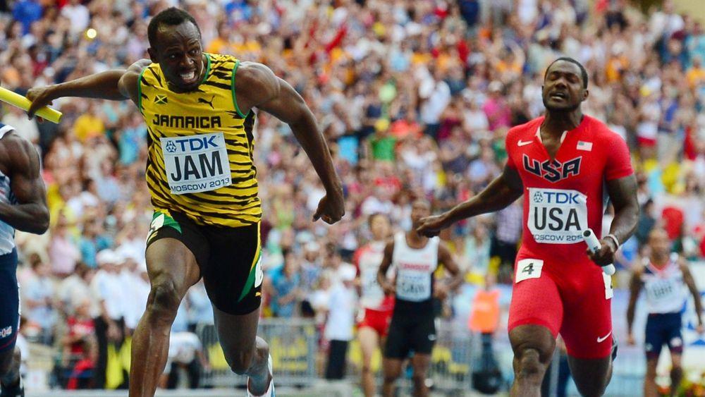 Usain Bolt (l.) and  Justin Gatlin (r.)