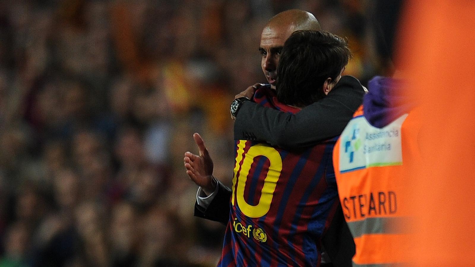 Josep Guardiola et Lionel Messi lors de Barça-Espanyol - 2012