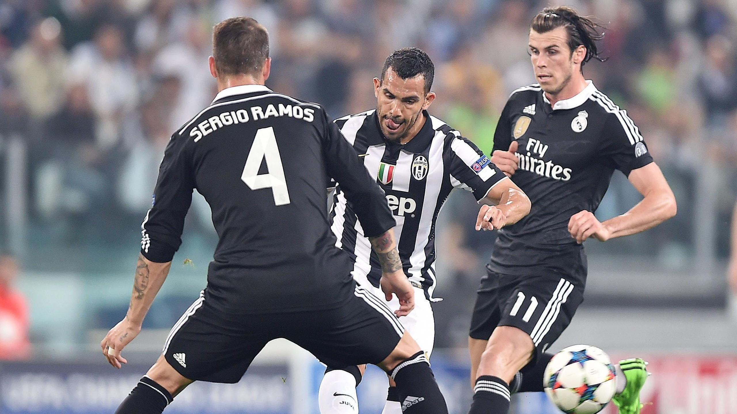 Sergio Ramos, Tévez y Bale en el Juventus-Real Madrid