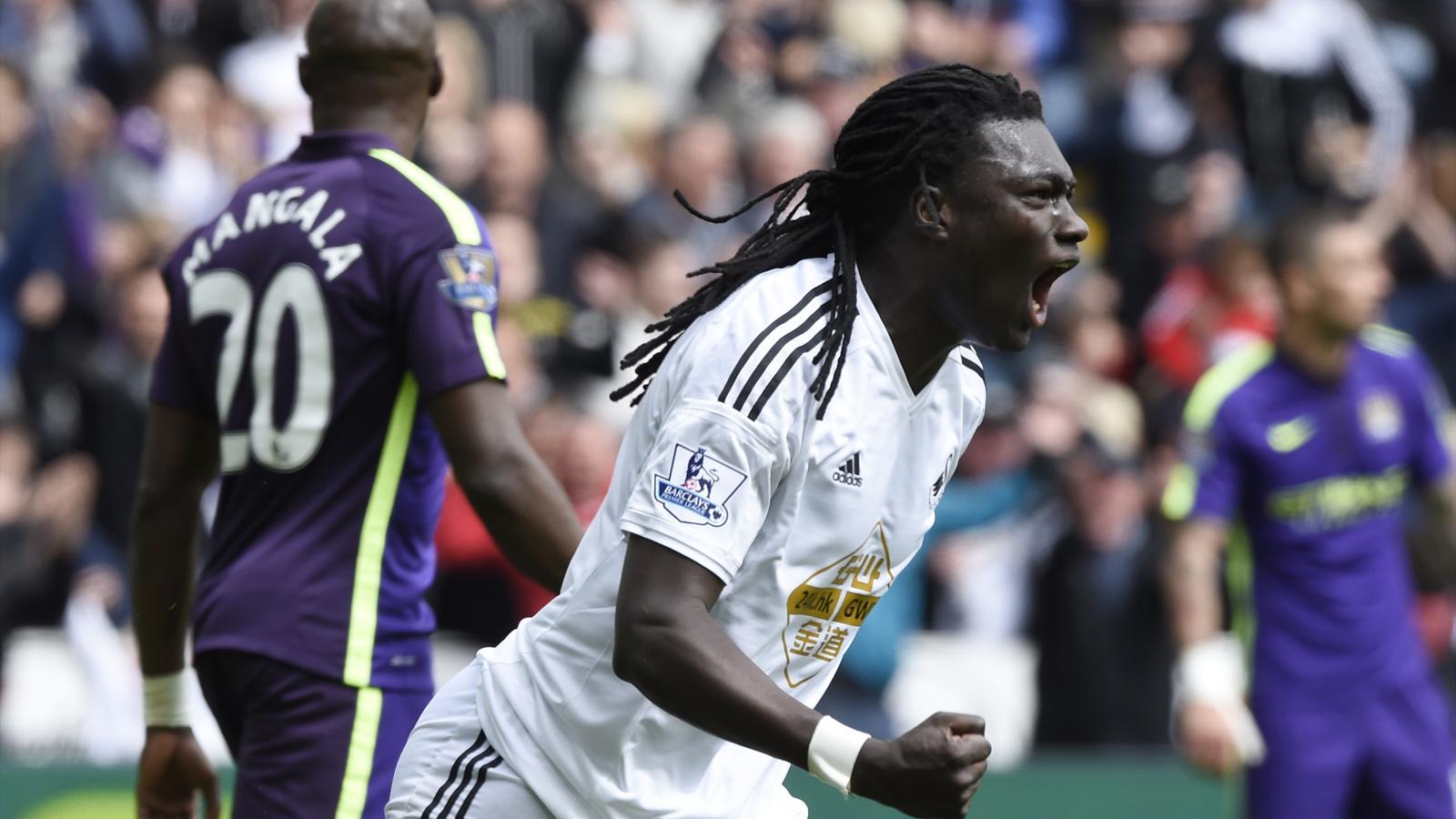 Bafetimbi Gomis scored a fine equaliser for Swansea against Manchester City