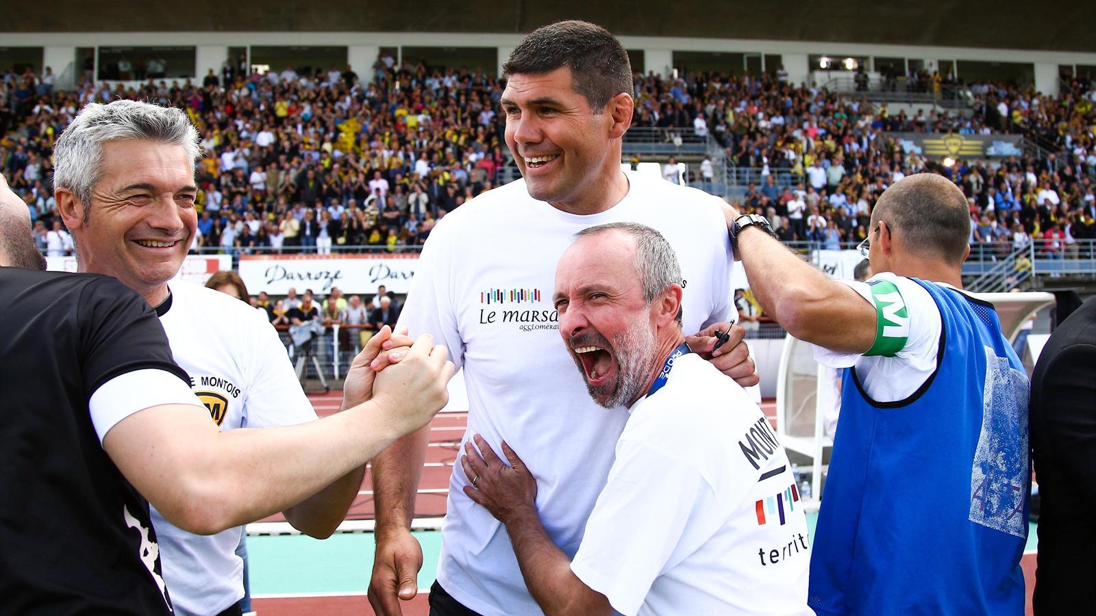 La joie de David Auradou à l'issue de la victoire de Mont-de-Marsan sur Albi en demi-finale