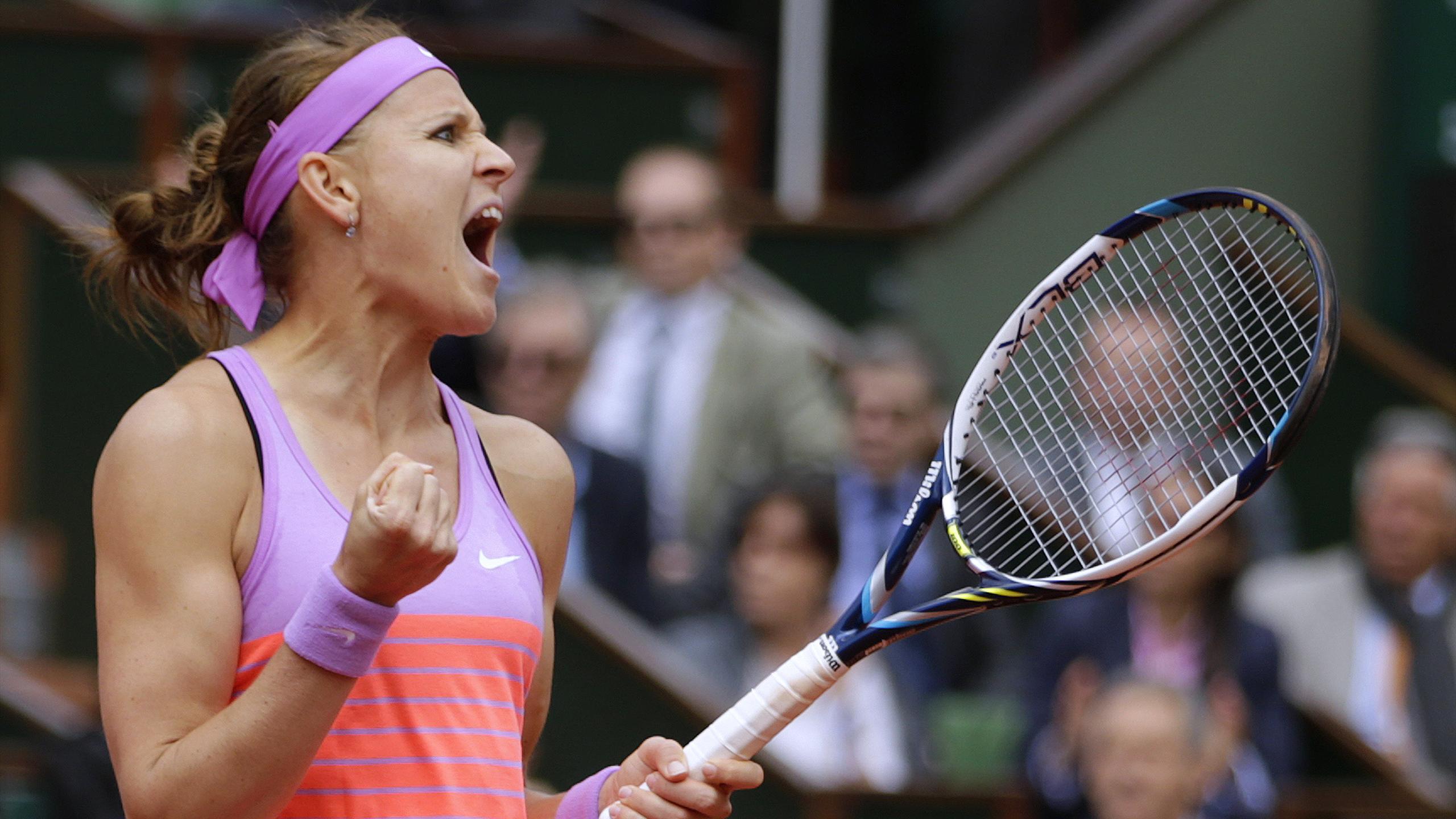 Safarova après sa victoire sur Sharapova