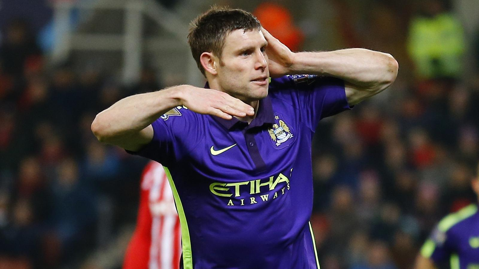 Manchester City's James Milner celebrates scoring against Stoke City