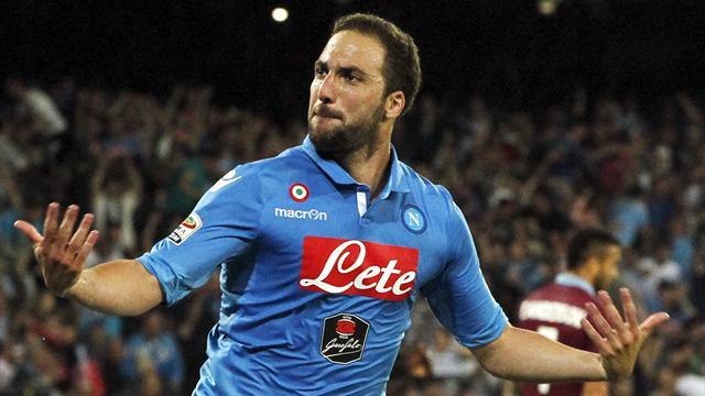 Napoli's Gonzalo Higuain celebrates after scoring his second goal against Lazio
