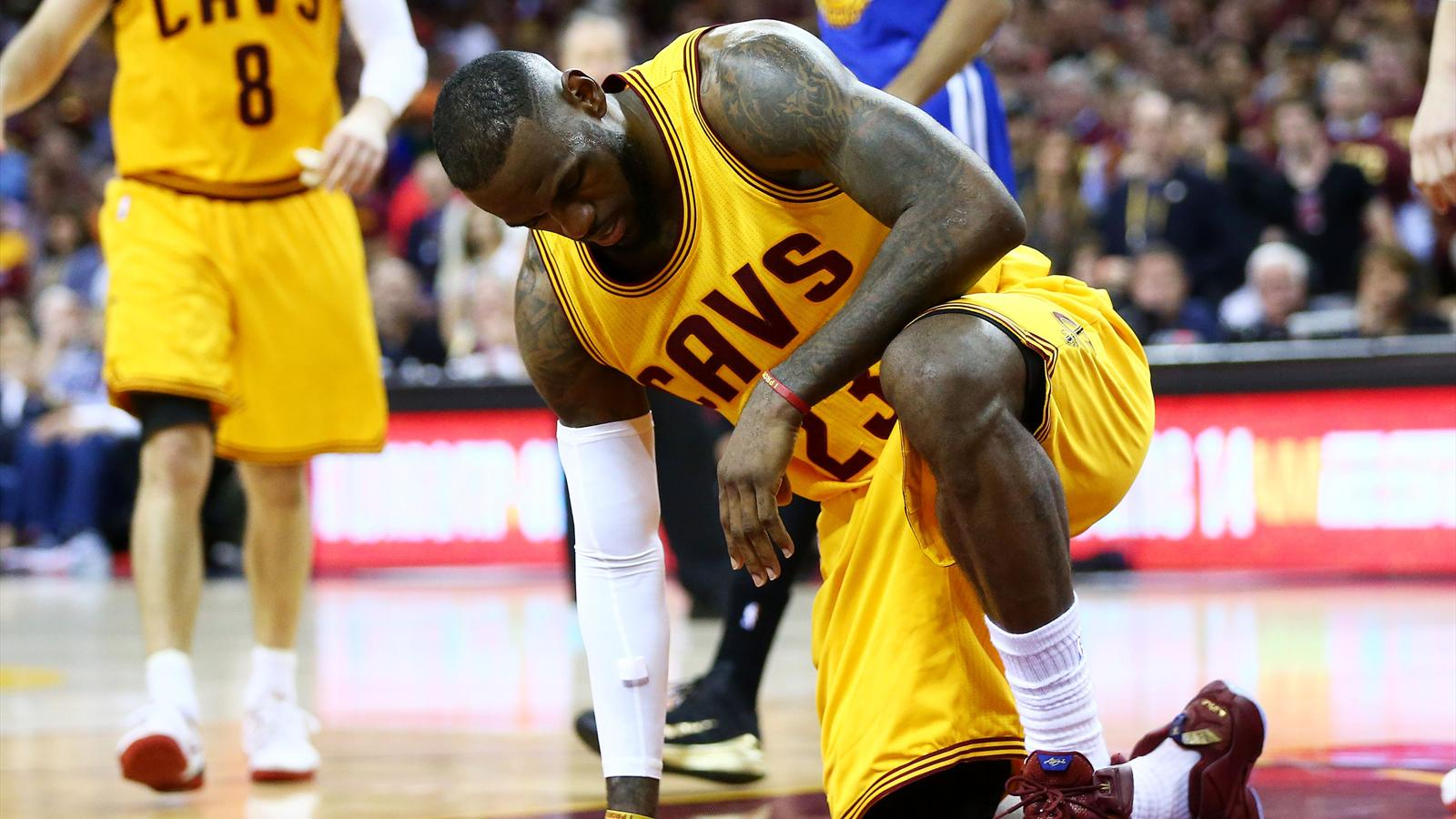 LeBron James of the Cleveland Cavaliers against the Golden State Warriors in game four of their NBA finals series