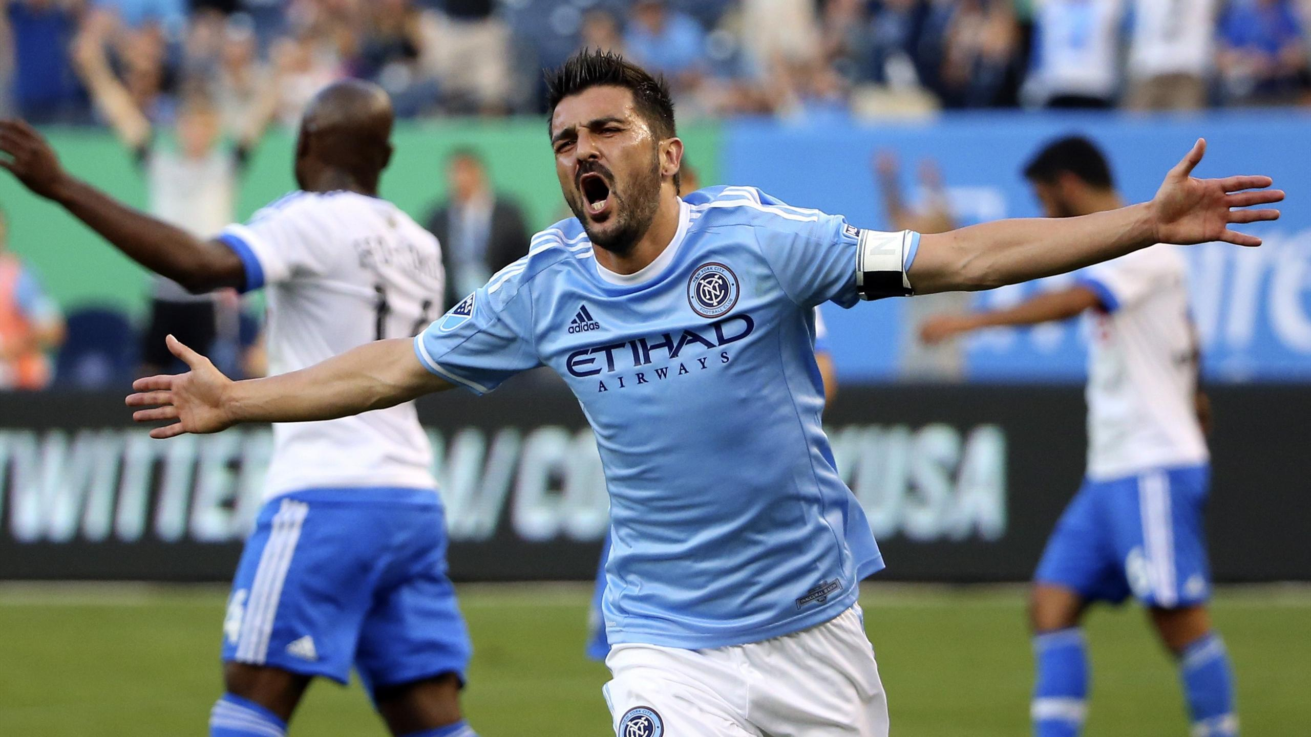 New York City FC forward David Villa (7) celebrates his goal during the first half against the Montreal Impact at Yankee Stadium