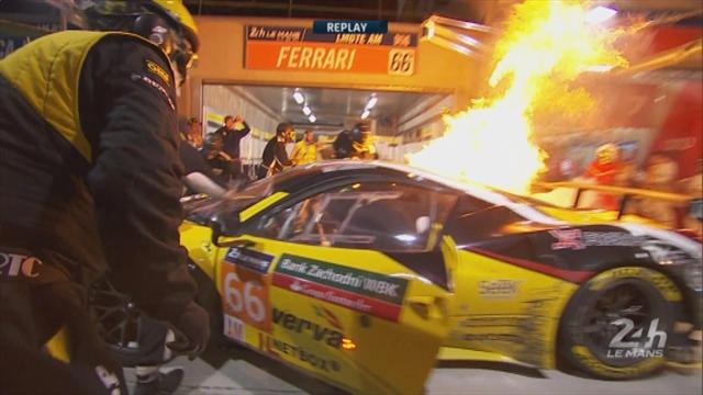 Alarming scenes as Ferrari catches fire in pit lane during 24 hours of Le Mans
