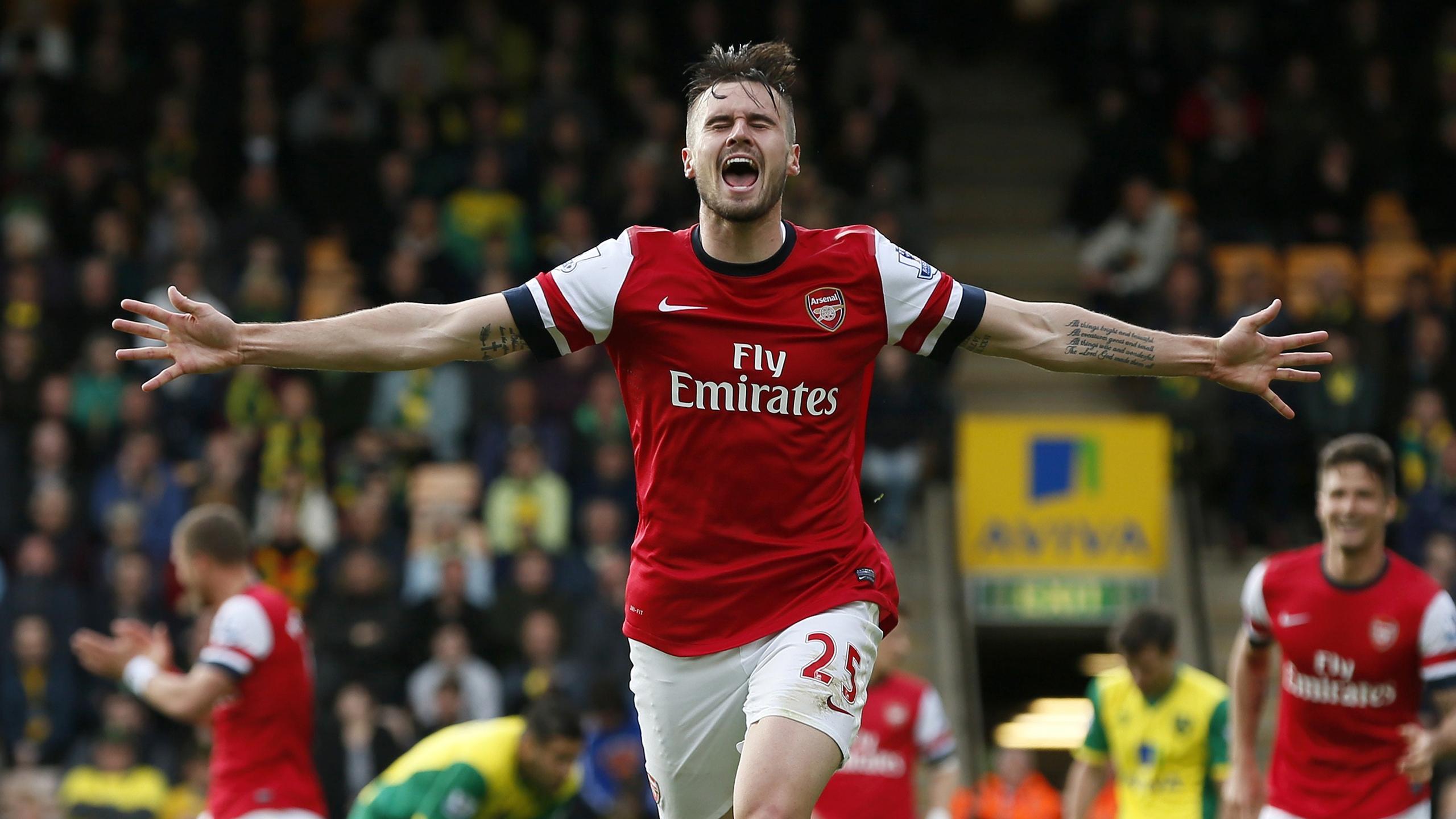Carl Jenkinson celebrates scoring his first goal for Arsenal