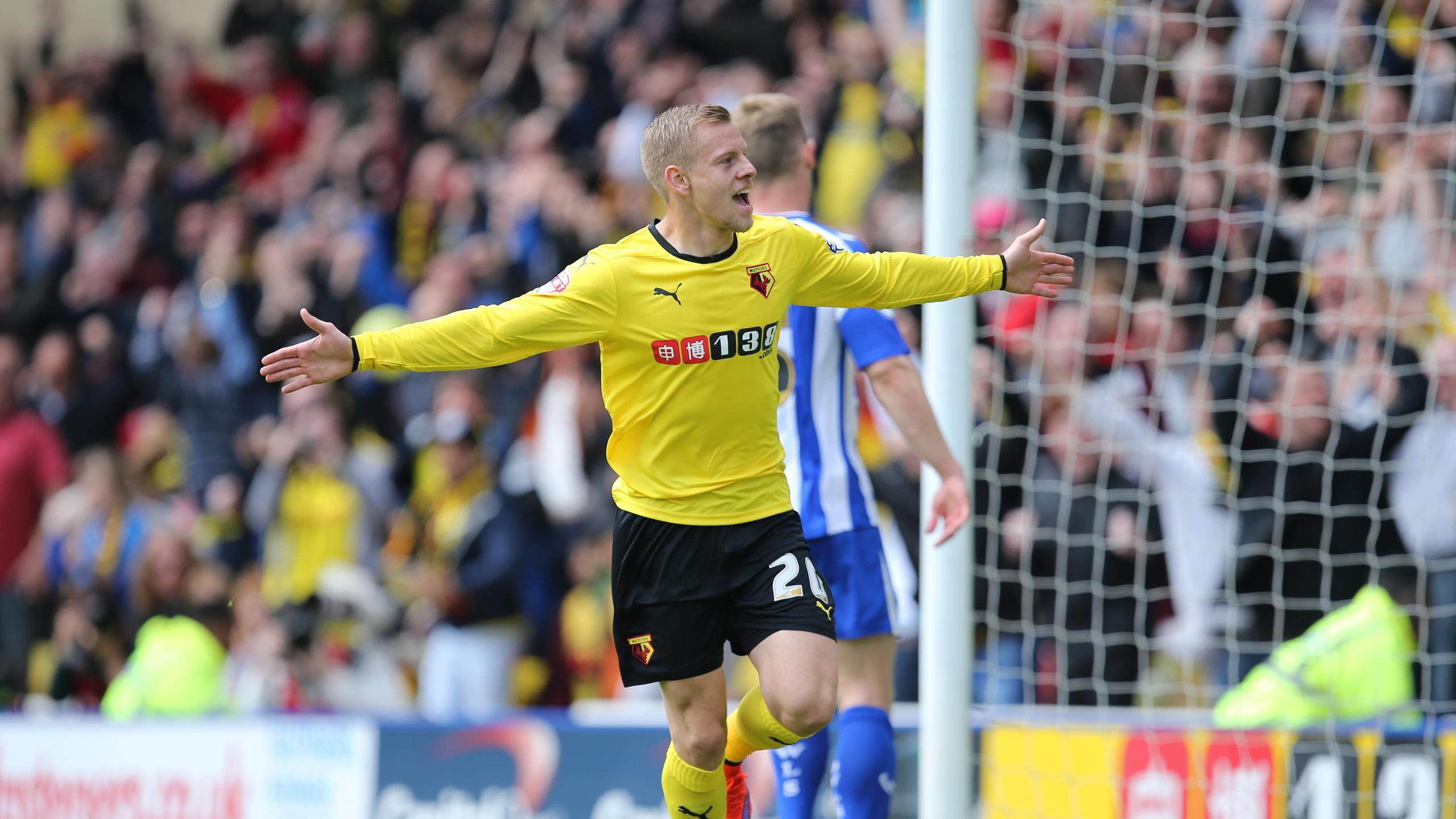 Matej Vydra celebrates scoring for Watford against Sheffield Wednesday