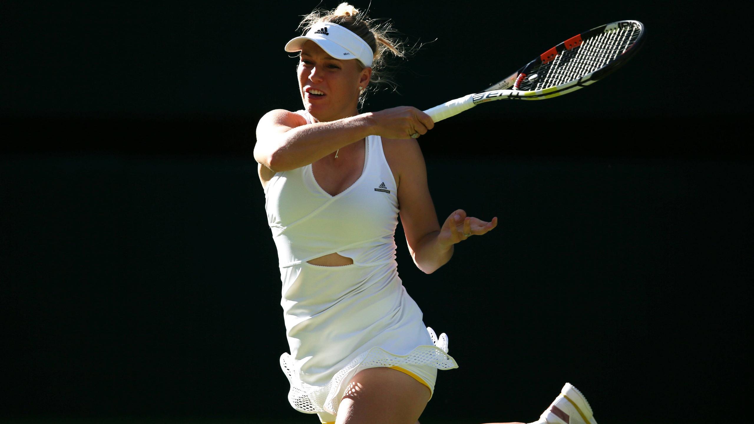 Caroline Wozniacki in action at Wimbledon