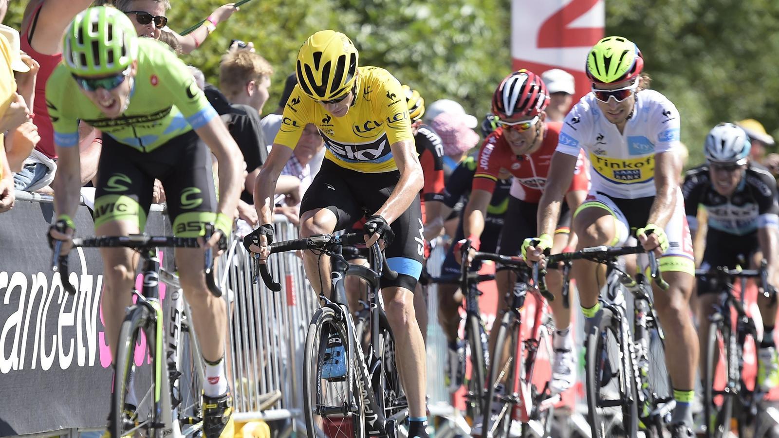 Dan Martin, Chris Froome et Peter Sagan à Mûr-de-Bretagne, arrivée de la 8e étape du Tour de France 2015