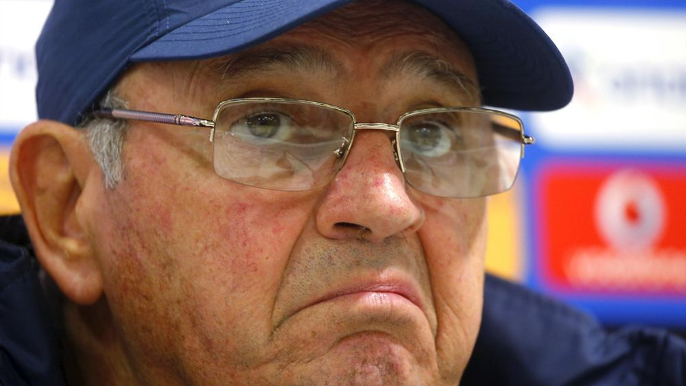 Greece head coach Sergio Markarian attends a news conference in Budapest