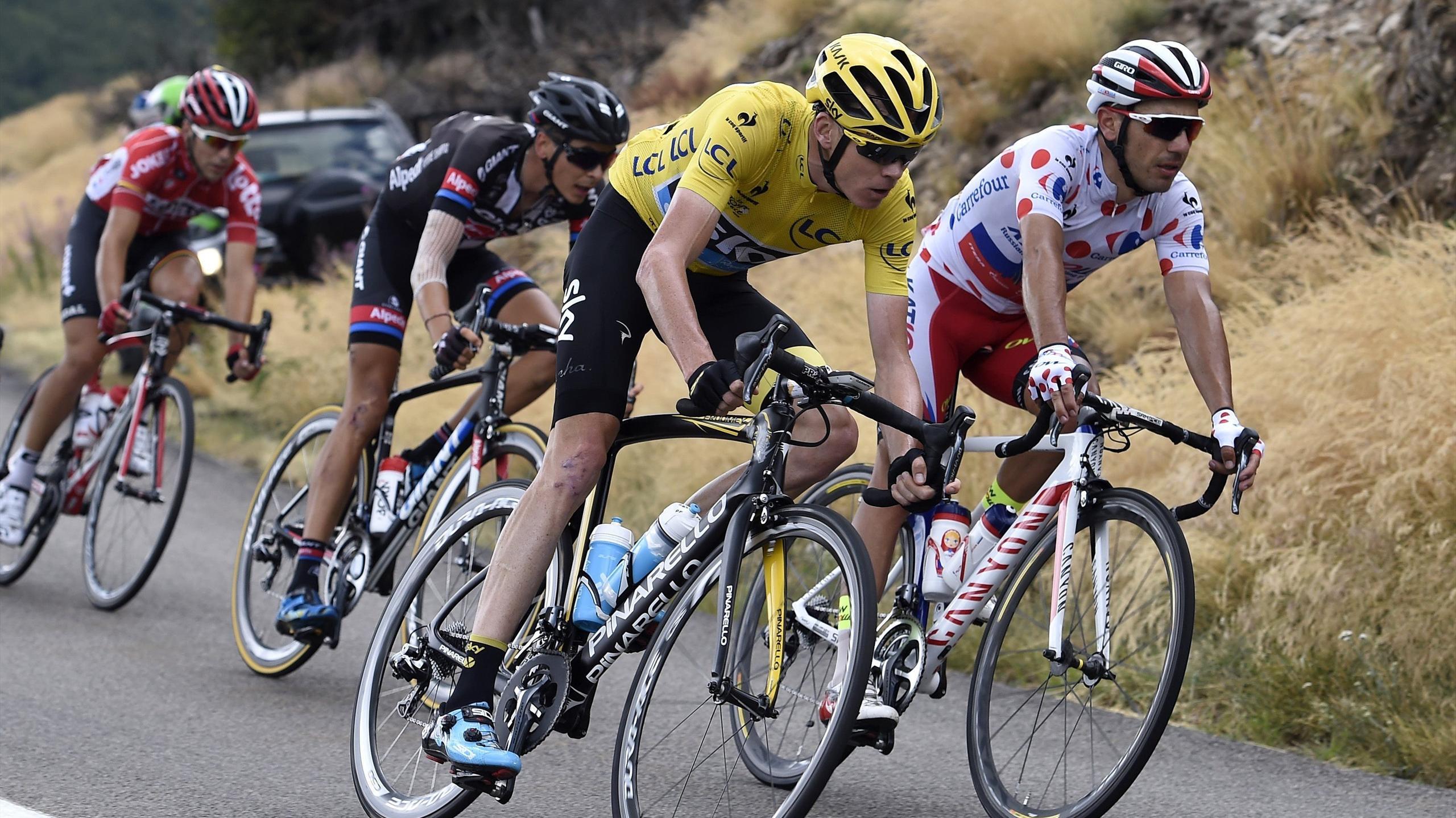 Chris Froome (Sky) et Joaquim Rodriguez (Katusha), porteurs des maillots jaune et à pois sur le Tour de France 2015