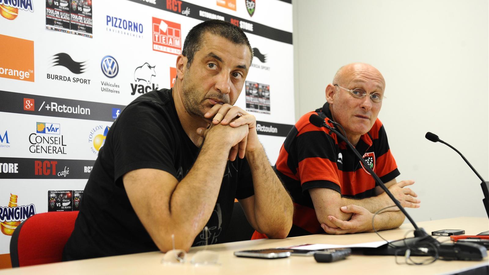 Mourad Boudjellal et Bernard Laporte (Toulon) le 16 juillet 2015