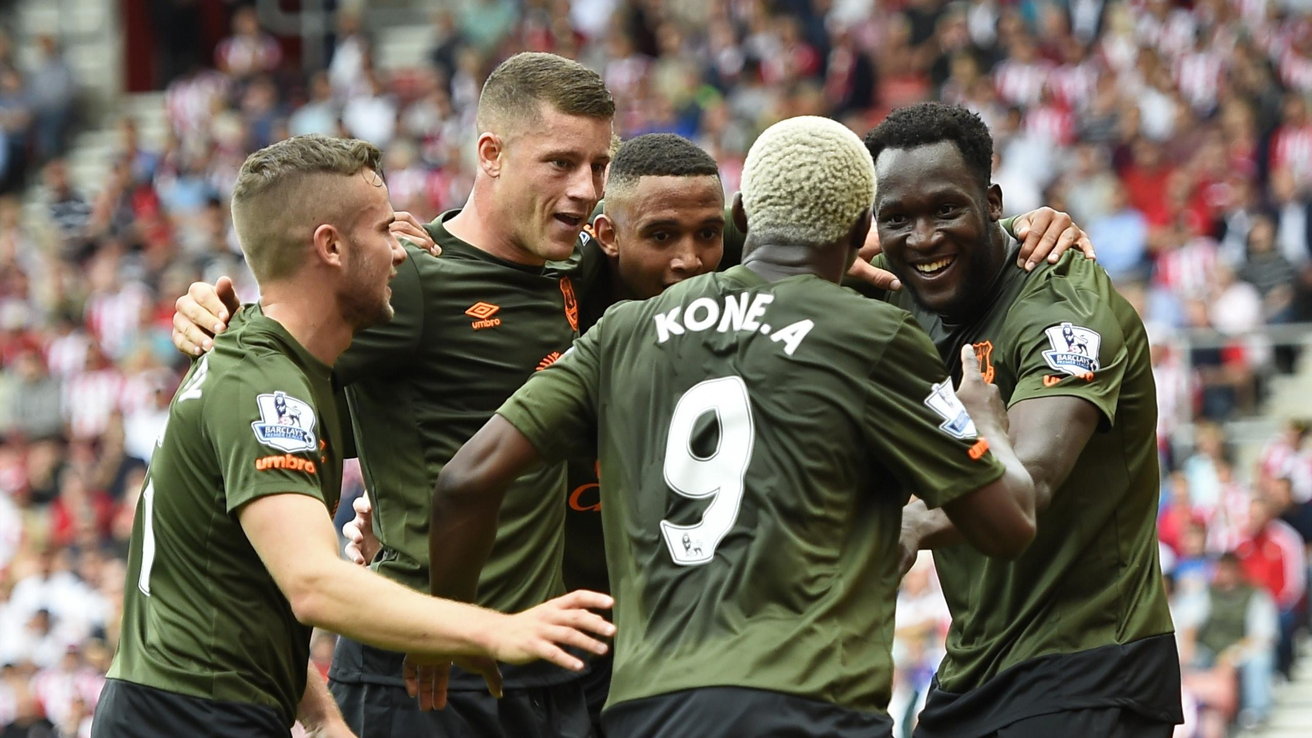 Romelu Lukaku celebrates with Ross Barkley and other team mates after scoring for Everton