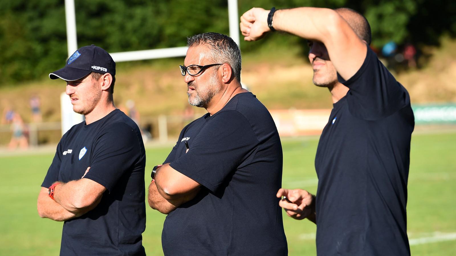 Christophe Urios (Castres) et ses adjoints - août 2015