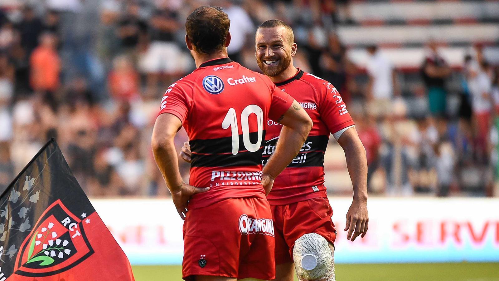 Frederic Michalak et Matt Giteau (Toulon) - match de préparation contre Toulouse le 1er aout 2014