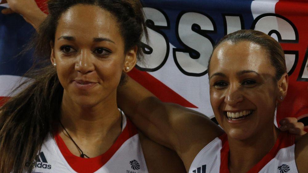 Jessica Ennis-Hill (r) and Katharina Johnson-Thompson