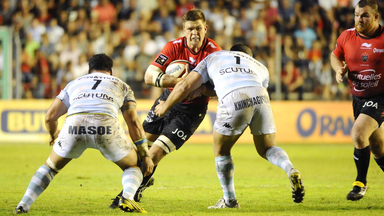La charge de Juan Smith, le troisième ligne de Toulon, contre le Racing 92 - 21 août 2015
