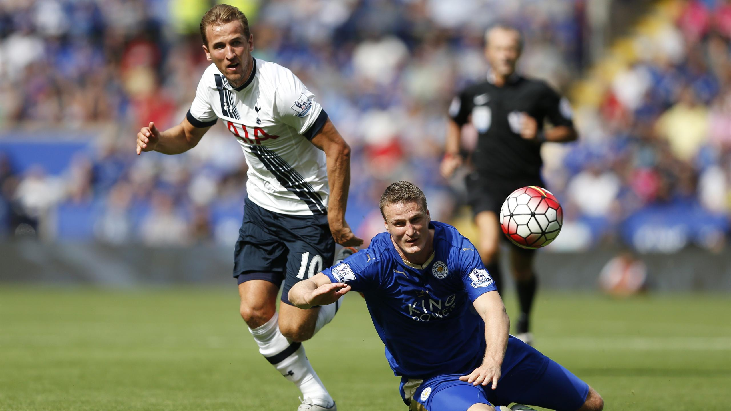 Leicester's Robert Huth in action with Tottenham Hotspur's Harry Kane