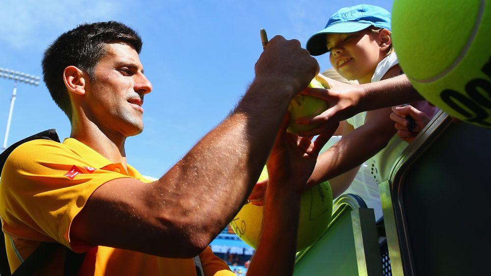 Novak Djokovic celebrates after winning through in Cincinnati