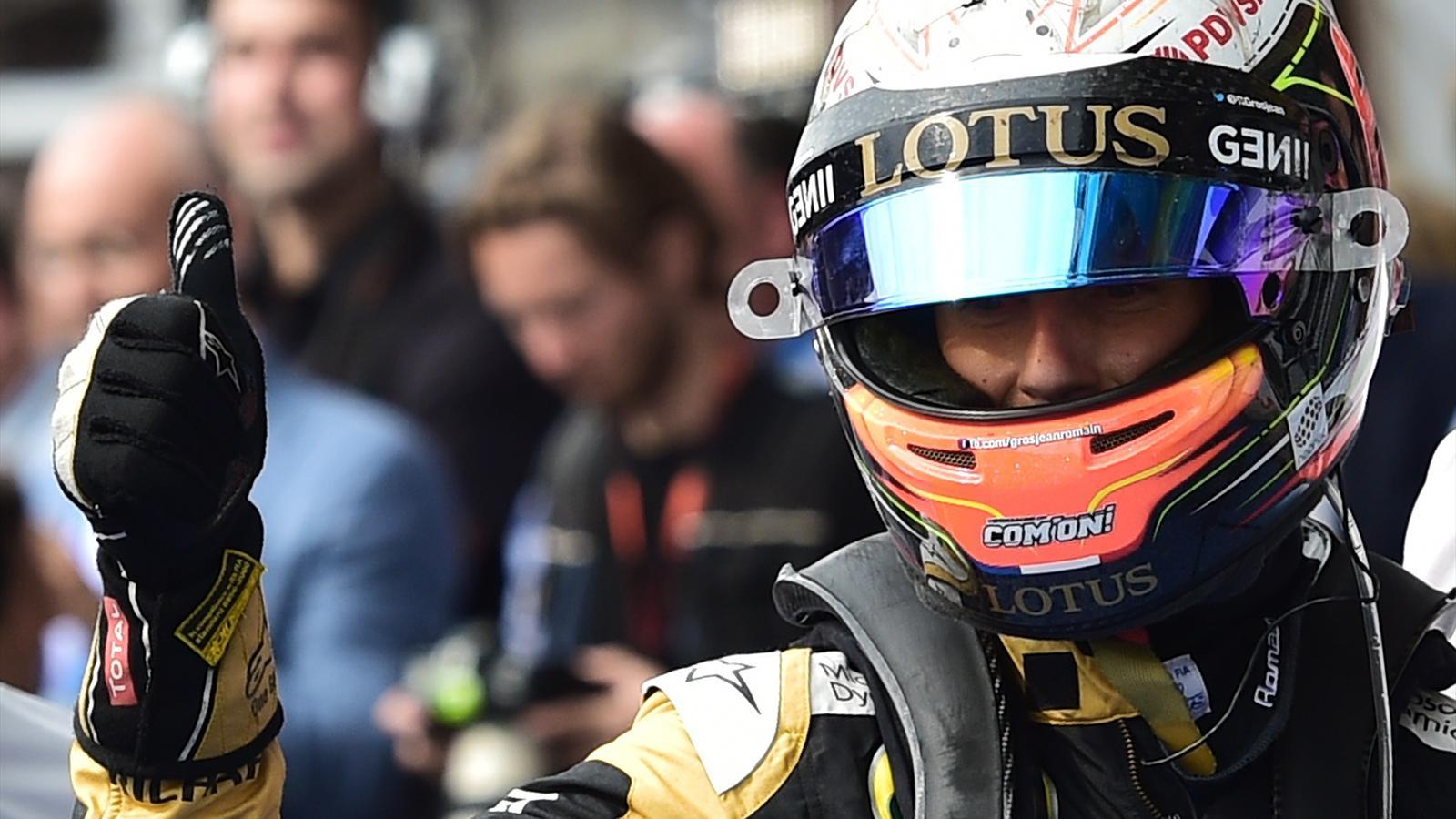 Romain Grosjean (Lotus), heureux avant de monter sur le podium à Spa-Francorchamps