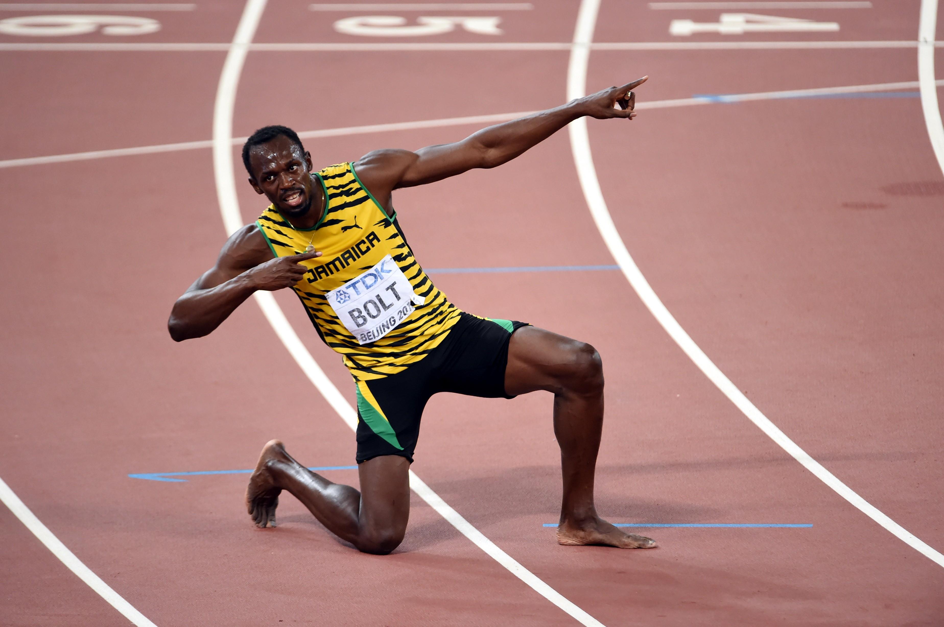 Usain Bolt, après son titre mondial sur 200 m, à Pékin