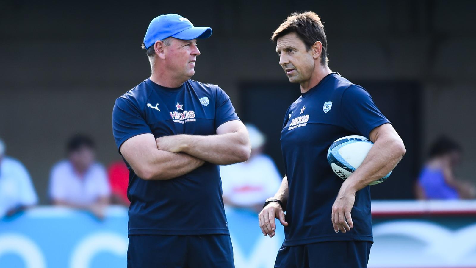 Jake White et Scott Wisemantel, les entraîneurs de Montpellier - août 2015