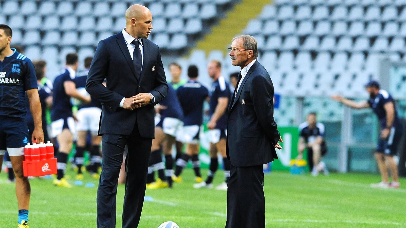 Sergio Parisse et Jacques Brunel (Italie) - 22 août 2015