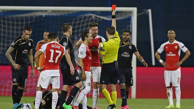 Giroud expulsé, une défaite d'entrée : Arsenal a passé une soirée difficile