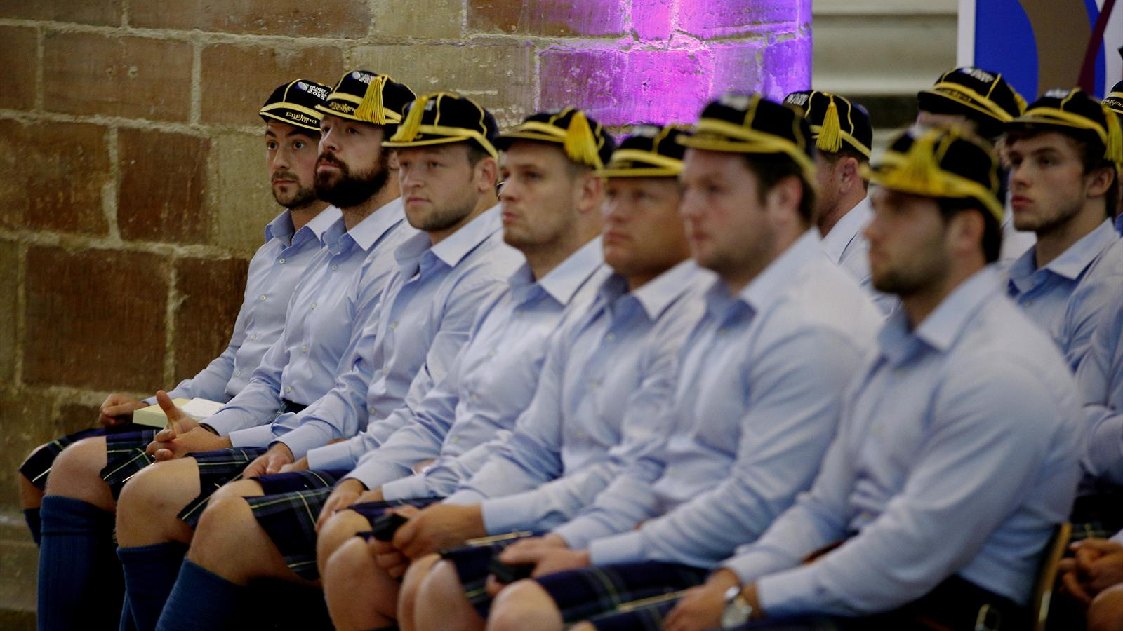 Scotland's rugby team being welcomed to Gloucester.