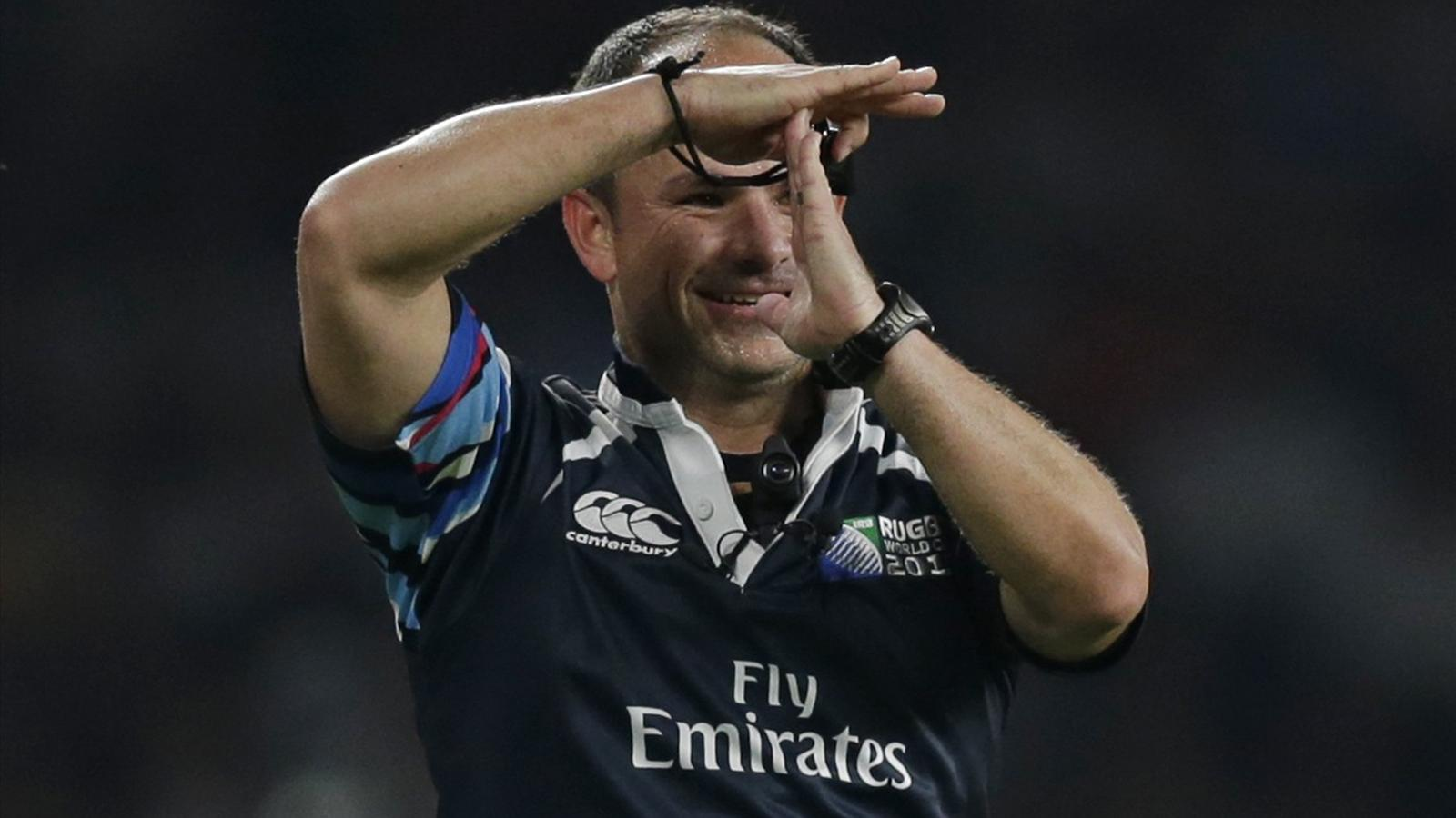 Referee Jaco Peyper during England's opening match of the Rugby World Cup against Fiji at Twickenham