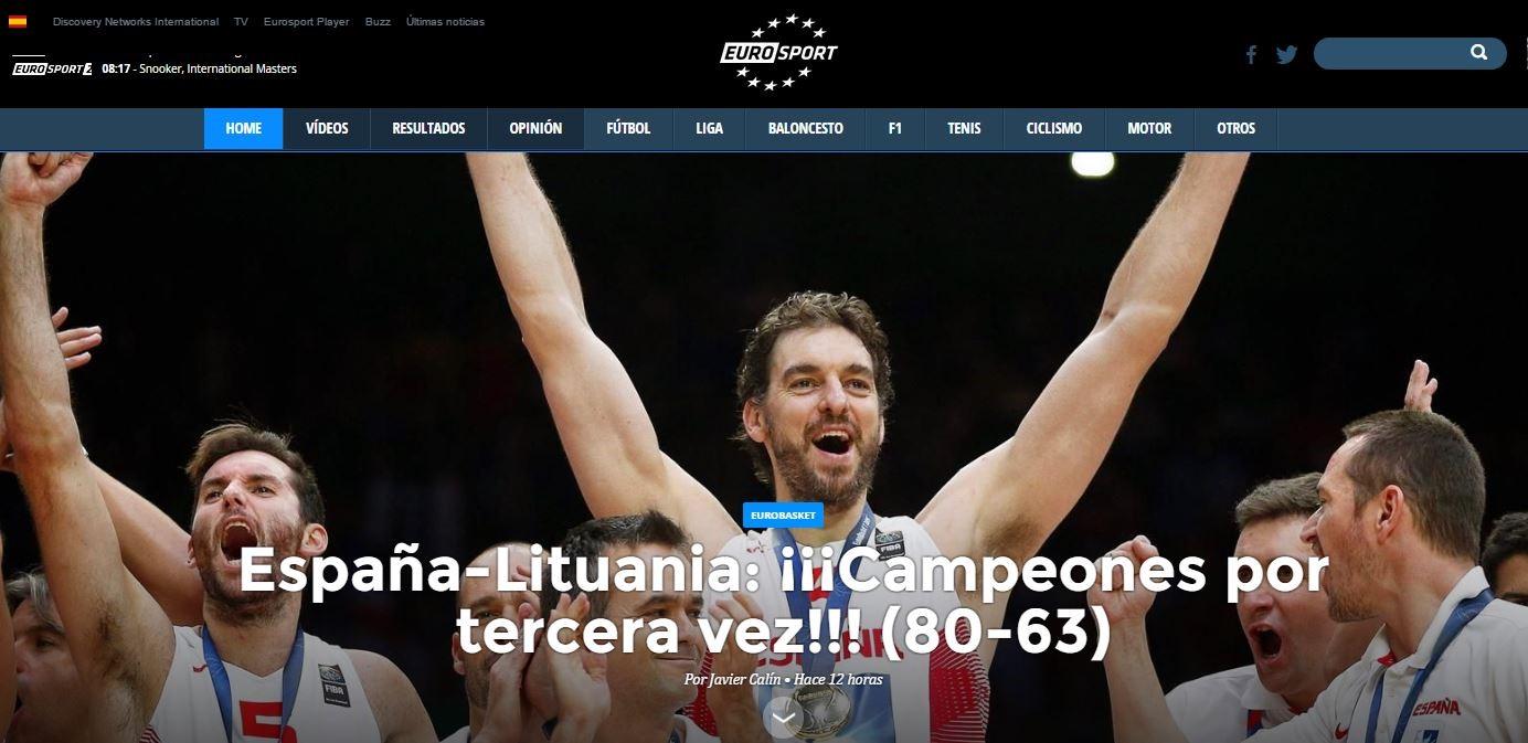 Home page de Eurosport.Es tras el triunfo de España en el Eurobasket 2015
