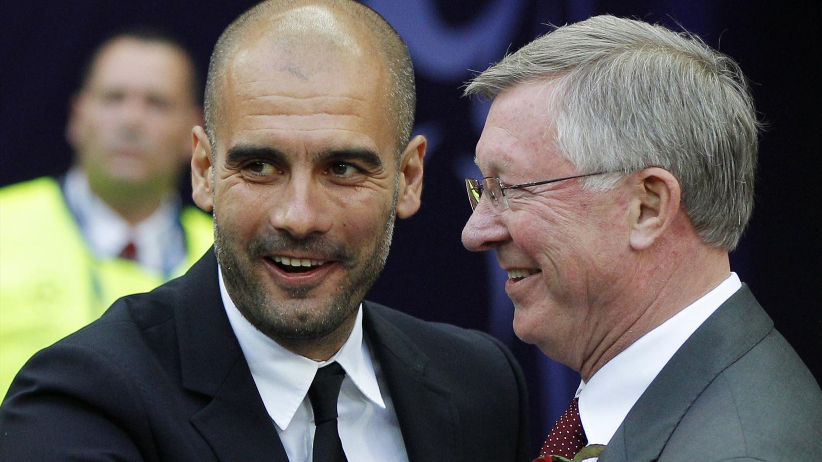 Former Barcelona coach Pep Guardiola (L) and former Manchester United manager Sir Alex Ferguson