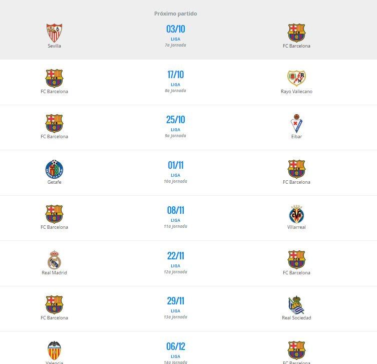 Calendario sin Barça por la lesión de Messi