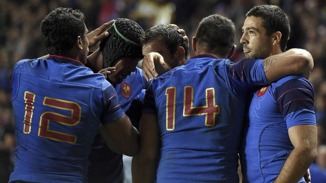 La joie des joueurs du XV de France face au Canada - 1er octobre 2015