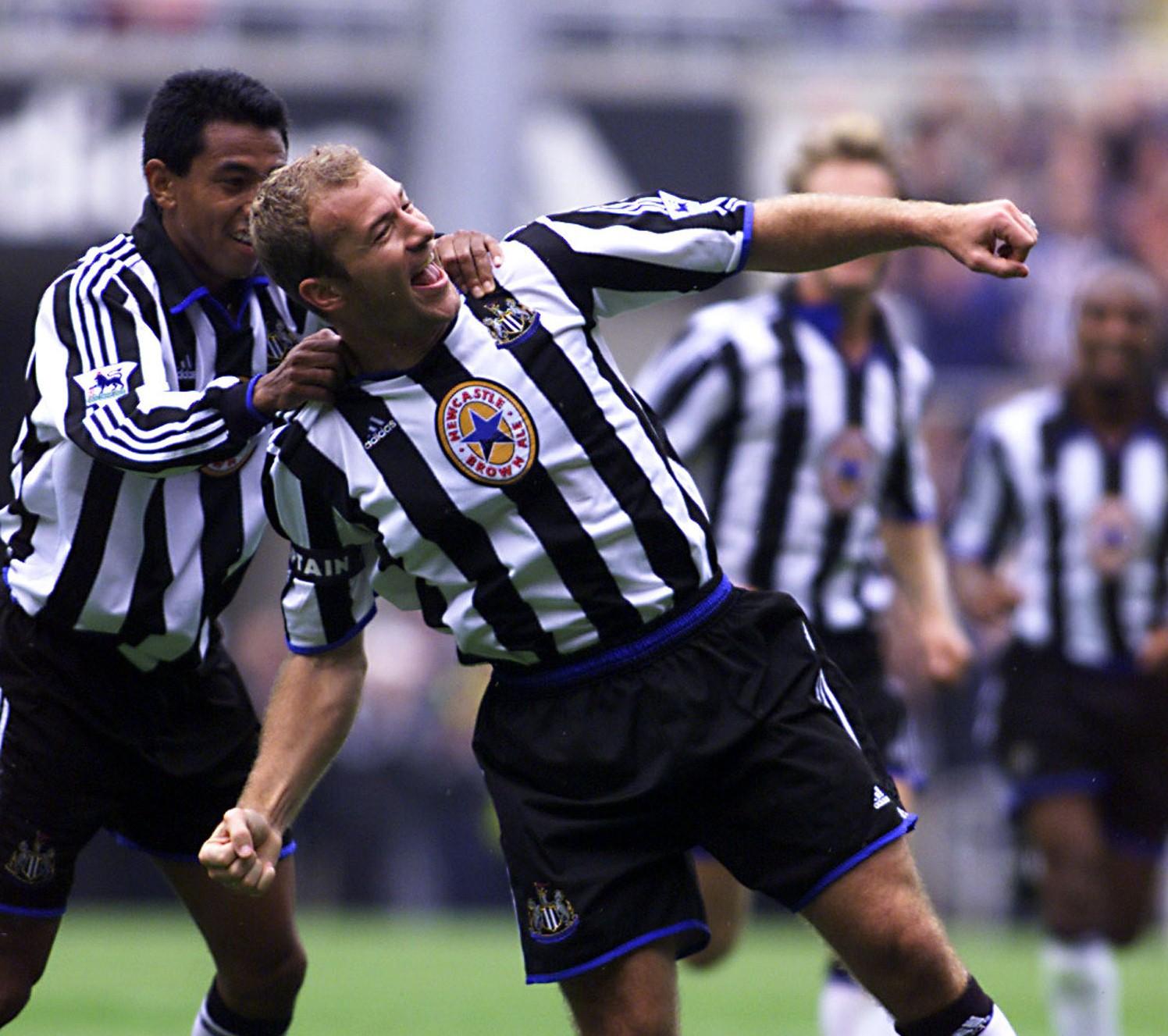 Alan Shearer celebrates scoring five against Sheffield Wednesday
