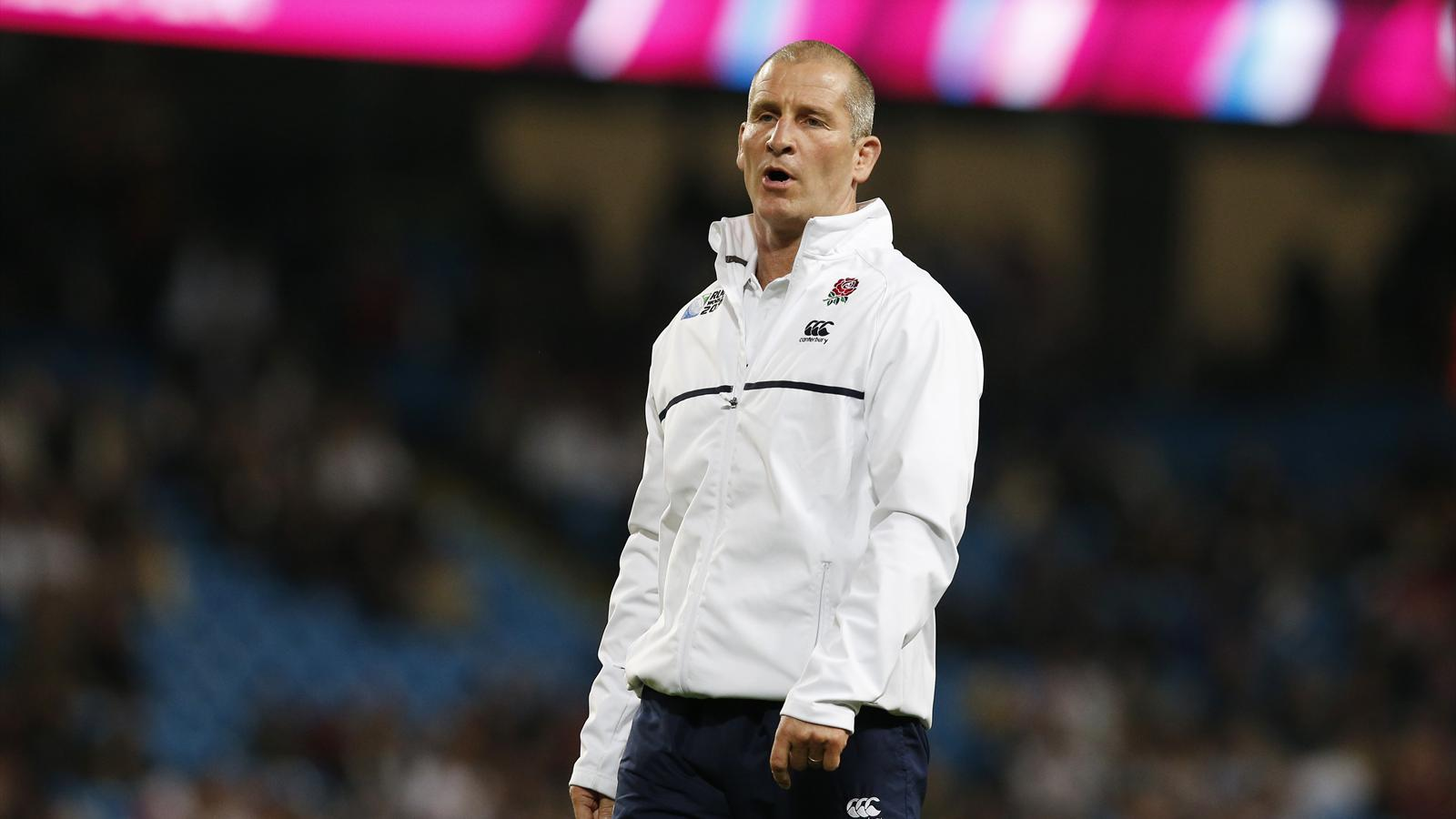 England coach Stuart Lancaster looks dejected after his side crashed out of the Rugby World Cup