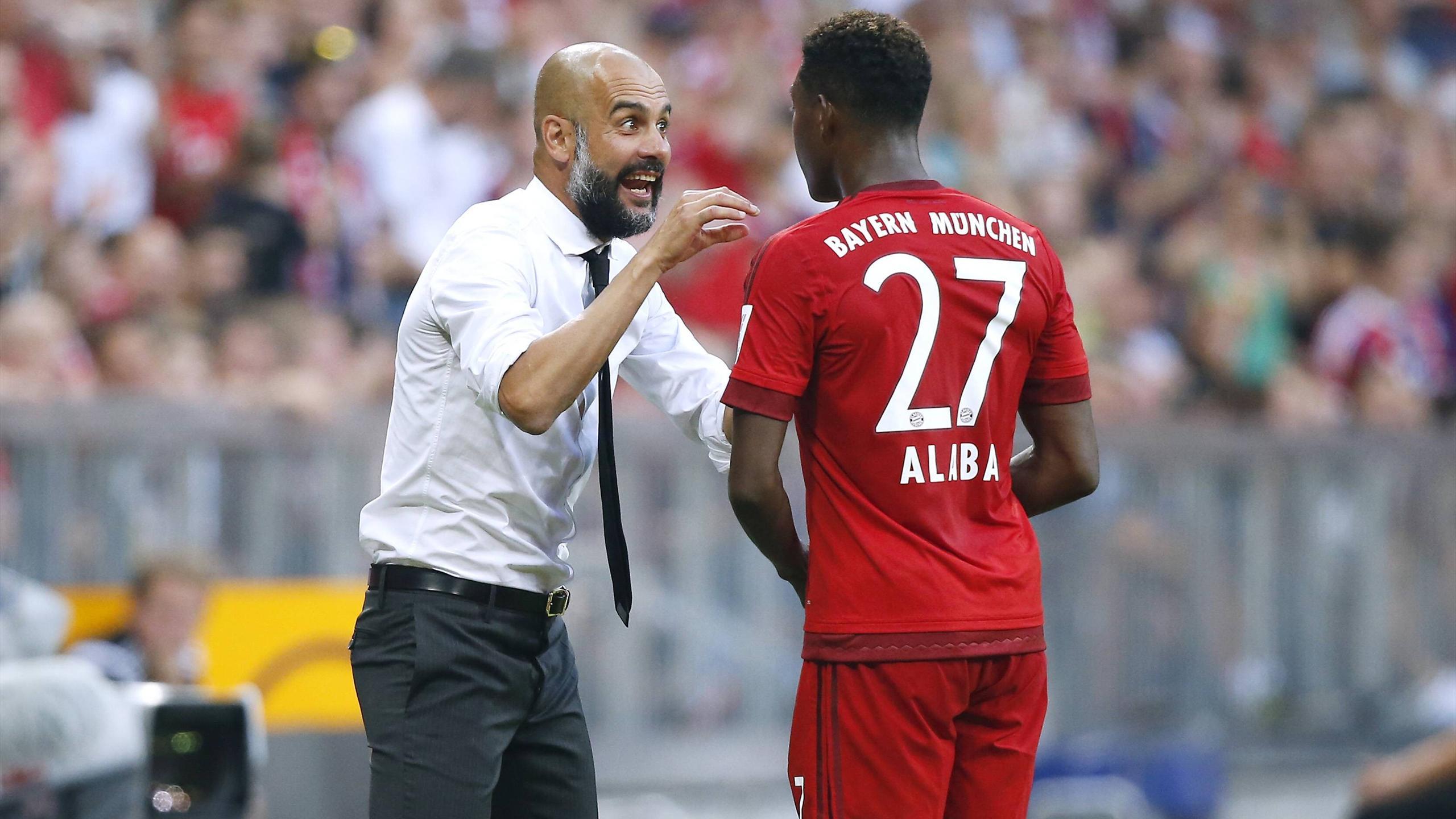 Pep Guardiola with David Alaba (FC Bayern)