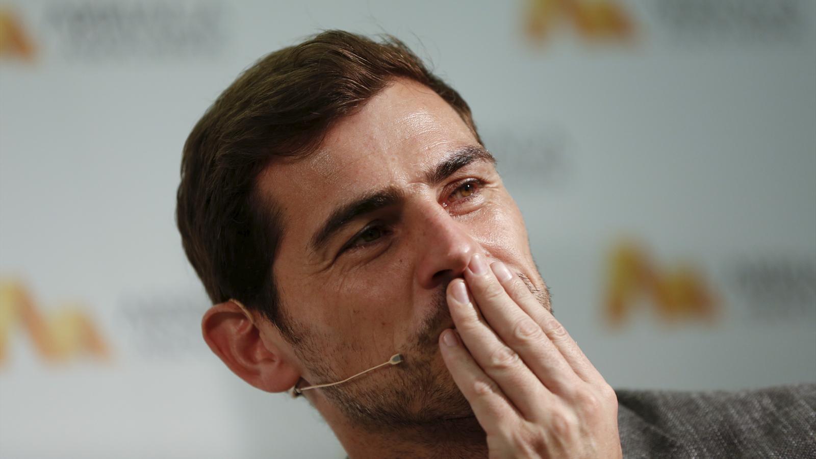 Spain's goalkeeper Iker Casillas gestures during a news conference in Madrid, Spain