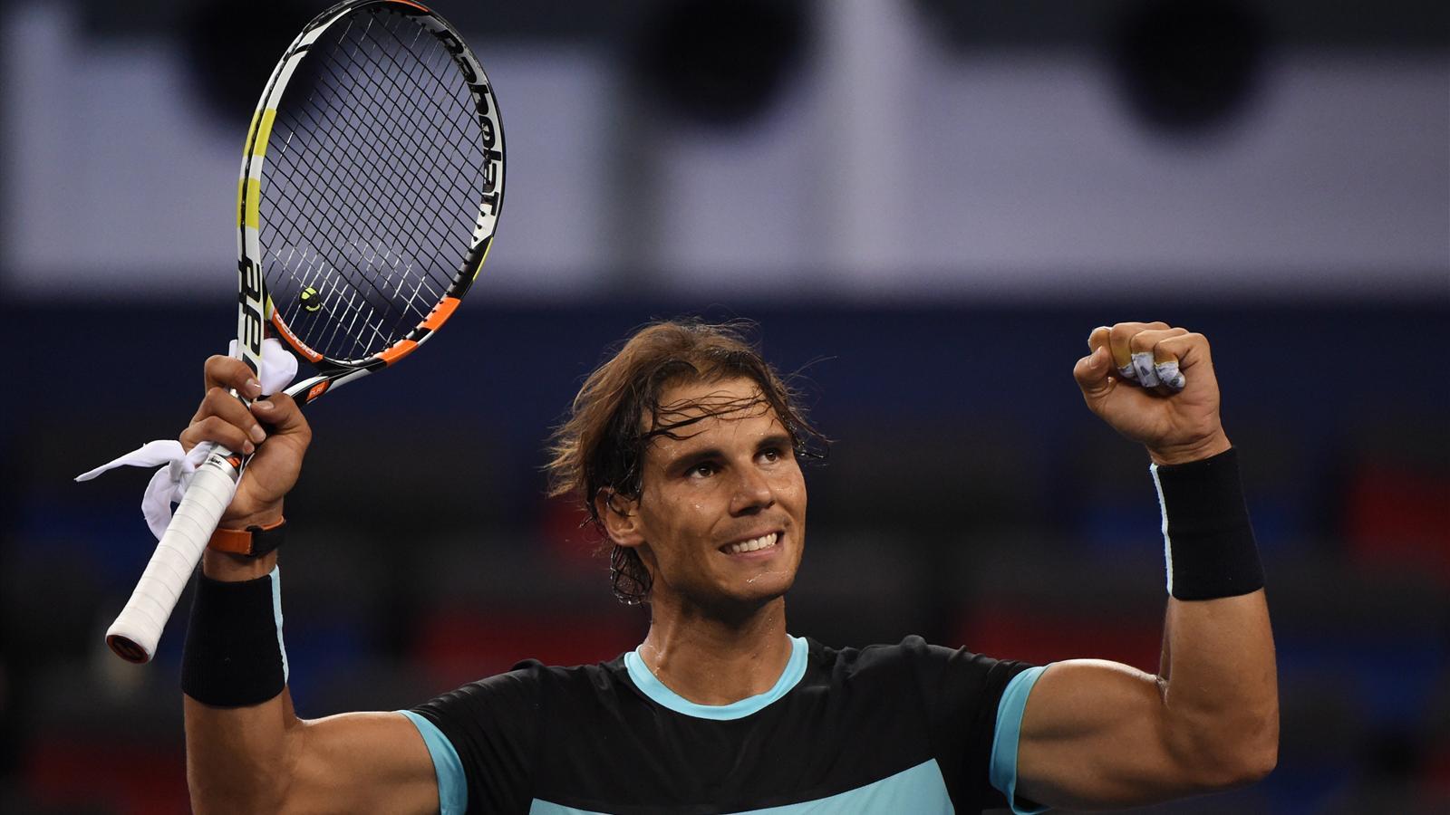 Rafael Nadal celebrates his huge win over Stanislas Wawrinka in Shanghai.