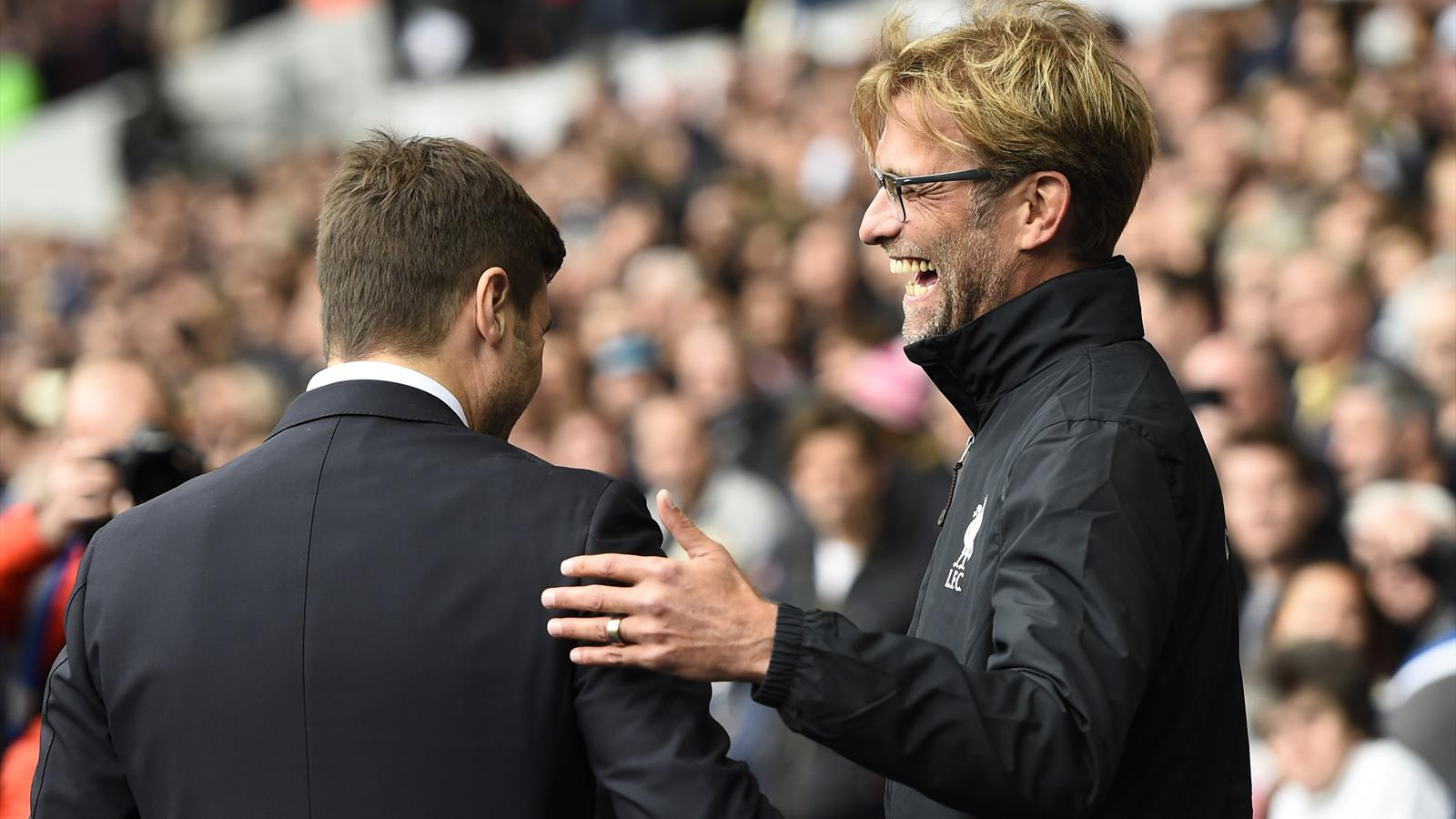 Jürgen Klopp salue Mauricio Pochettino avant Tottenham-Liverpool