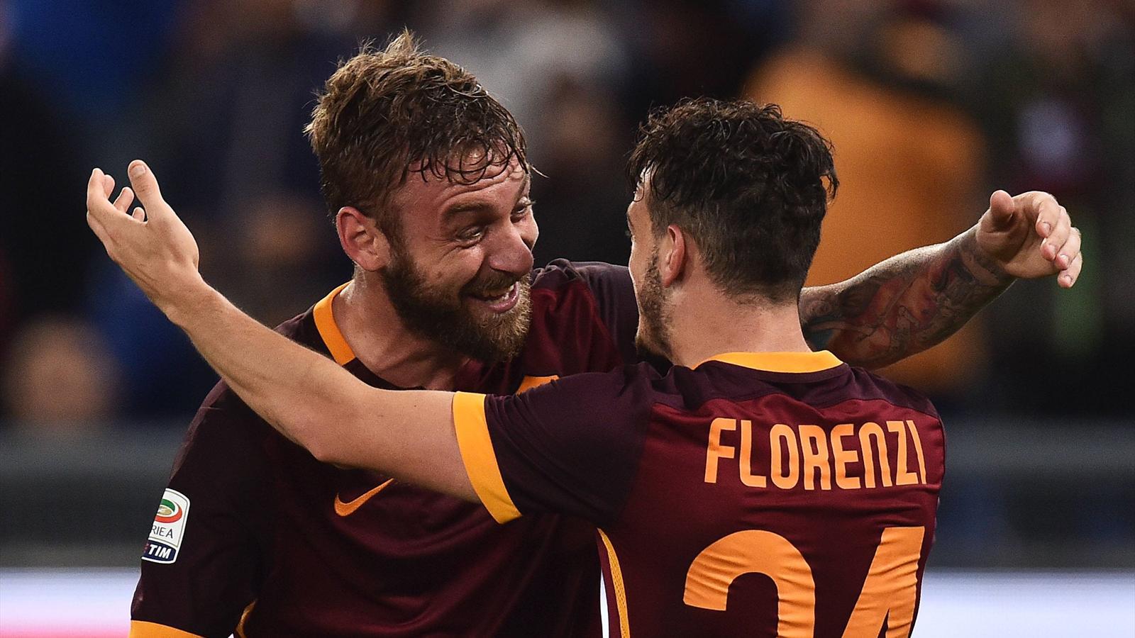 Daniele de Rossi and Alessandro Florenzi celebrate goal during Roma vs Empoli game – PUB NOT IN FRA ITA